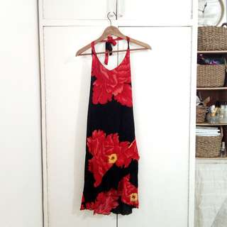 Floral Asymmetric Maxi Halter Formal Cocktail Red Black Dress Size Medium