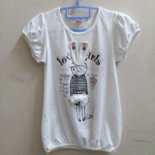 Kids Girl White  Long Tshirt