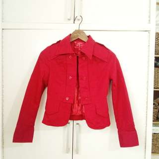 Red Korean Style Cotton Jacket for Casual or Office Size Small