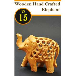 WOODEN HAND CRAVED ELEPHANT - GRID STYLE