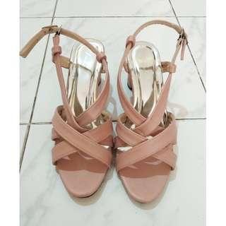 Sepatu Hak Tahu Peach Pink High Heels