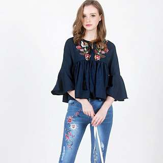 Lovet Stella Floral Embroidery Baby Top ( Navy)