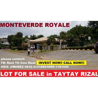 Monteverde royale in TAYTAY rizal, HULUGANG LOTE  6200 per sqm