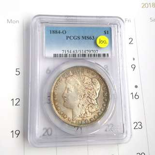 1884-o morgan dollar pcgs ms 63