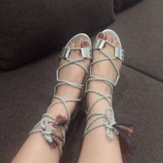 SALE Zalora Metallic Gladiator Tassel Sandals