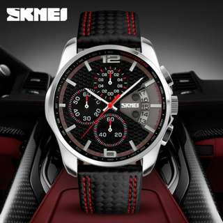 SKMEI fashion mens quartz watch w/date leather waterproof 10M 6months warranty Japan machine#9106