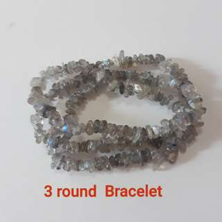 Very Nice Top grade Labradorite rough tumble beads 3 round bracelet, also suitable as Necklace.