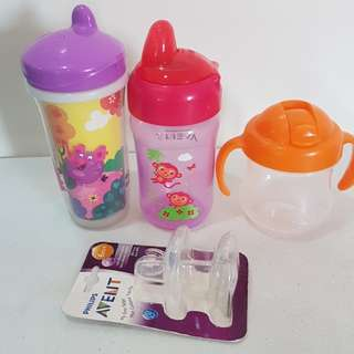 Lot of Toddler Sippy Cups - avent playtex pigeon
