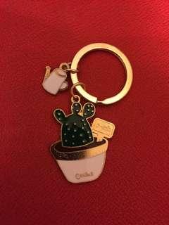 Gold cactus keychain