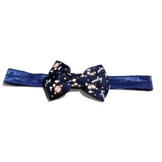 Handmade Korean Style Dark Blue Cartoon Print Hair Bow Elastic Headband