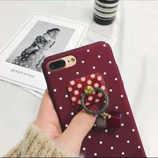 Polka Dot Case Cover with Ring Holder iPhone 6/6+/7/7+/8/8+