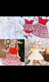 Big Sister Little Sister Matching Set Christmas Red White Cream Beige Dress Romper Lace Ruffle Bow Headband  [PO]