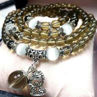 天然開光茶水晶頸鏈/手鏈(可兩用)可帶來健康和財富/增強體力、活力的水晶 Natural open tea crystal necklace / bracelet (Dual use) Can Bring Health and Wealth /Enhance Physical Strength, Vibrant Crystal