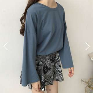 Cotton Long Wide Sleeves Loose Basic Top Ulzzang
