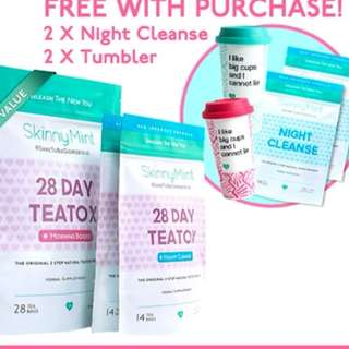 Intense Detox [SkinnyMint Official] Besties Teatox + FREE 2 x Night Cleanse + 2 Tumblers