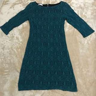 Promod Teal Lace Shift Dress