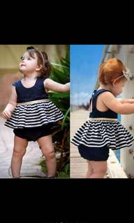 Baby Girl Navy Blue Open Back Stripe Dress Party Princess Pageant Tutu Toddler Newborn Kids [PO]