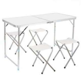 Portable Foldable Aluminium Camping Picnic Outdoor Easy Table Foc 4 Chairs(white)
