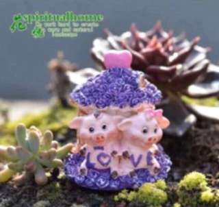 Terrarium Figurines: Twin Piglet Home