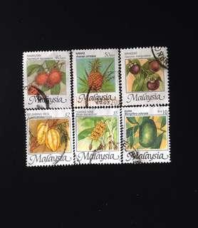 Malaysia 1986 Fruits Def 6v Used (0401)