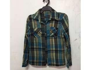 🚚 藍色棉質格子襯衫上衣