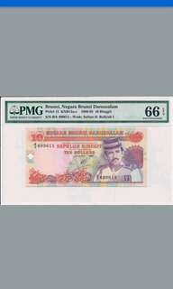 Brunei Red banknotes $10 PMG Graded 66EPQ