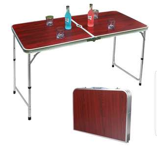 Portable Foldable Aluminium Camping Picnic Outdoor Easy Table(Brown)