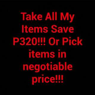 TAKE ALL ITEMS IN NEGOTIABLE PRICE!