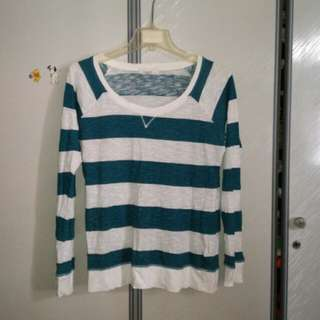 F21 Turquoise and White Stripes Long Sleeve Top
