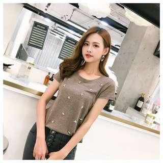 歐美簡約微透釘珠立體星星裝飾修身T恤簡約潮流上衣