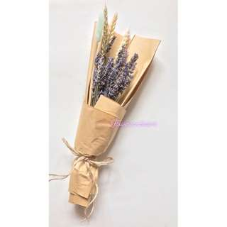Dried flowers dried lavender in brown kraft wrapping paper bouquet
