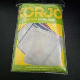 KORJO Zippered plastic bags. Brand new, never used