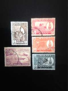 Malaya 1949-57 Penang Def 4V and 1V UPU Used (0374)