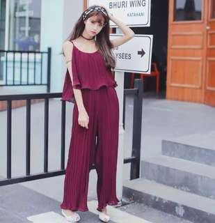 Mono-coloured Korean Style Ruffled Overall Jumpsuit