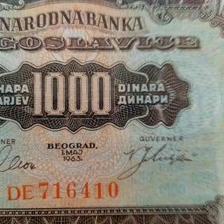 1963年 歐洲 南斯拉夫 1000第納爾 全新直版