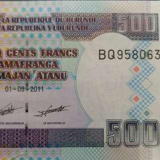 2011年 非洲 布隆迪 500法郎 全新直版