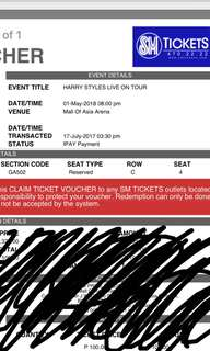 Harry Styles Live On Tour Manila GA Ticket