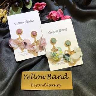 韓國的東大門飾品yellow band小清新圓形碎花鑲鑽花朵耳環
