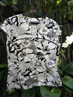 Blouse Black & White Floral Vesperine Original