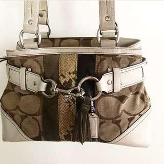 Authentic Coach Hampton Python Stripe Handbag