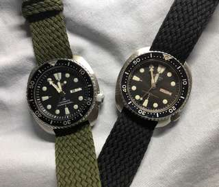 Green Perlon Watch Strap 20mm and 22mm