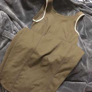 Zara Navy Green/ Olive Bodycon Dress (Long)