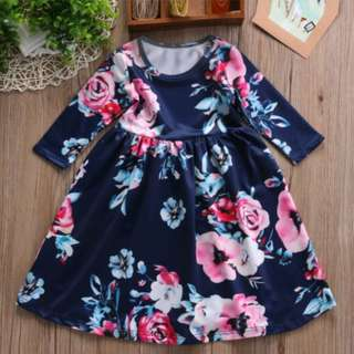 Navy Blue Floral Long Dress