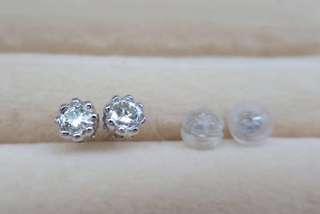 全新18K單頭鑽石耳環