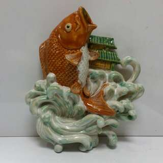 Chinese Porcelain fish statues hanging on wall...H30cm