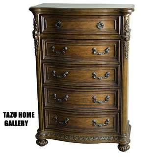 TAZU推介美國品牌高級華麗英式復古雕花經典五斗櫃,線條古典華麗,充滿貴氣,現特價發售.
