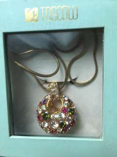 Toscow pendant and ring gold studded multicolour