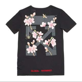 ( S Size ) Off-White Cherry Blossom Flower Oversize Black T Shirt Rare Limited Edition