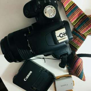 "CANON 500D 3kiss 35-80 Together w/ 2 battery 🔋🔋 Tripod ""big"" Box Charger Cam holder and Bag"