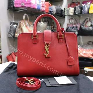 Yves Saint Laurent Red Calfskin Leather Small Monogram Cabas Bag